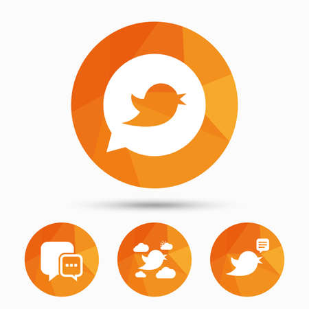 Birds icons. Social media speech bubble. Short messages chat symbol. Triangular low poly buttons with shadow. Vector