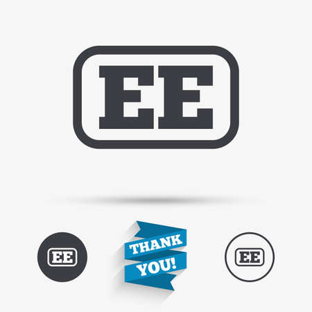ee: Estonian language sign icon. EE translation symbol with frame. Flat icons. Buttons with icons. Thank you ribbon. Vector Illustration