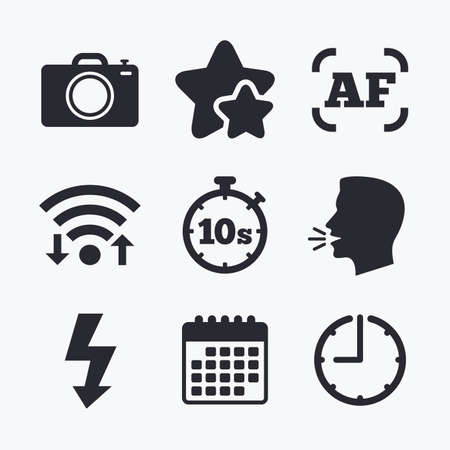 autofocus: Photo camera icon. Flash light and autofocus AF symbols. Stopwatch timer 10 seconds sign. Wifi internet, favorite stars, calendar and clock. Talking head. Vector Illustration