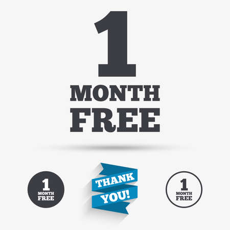 you are special: First month free sign icon. Special offer symbol. Flat icons. Buttons with icons. Thank you ribbon. Vector