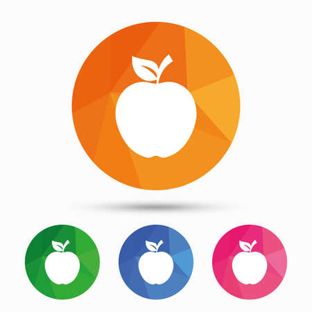 Apple sign icon. Fruit with leaf symbol. Triangular low poly button with flat icon. Vector