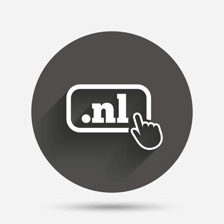 nl: Domain NL sign icon. Top-level internet domain symbol with hand pointer. Circle flat button with shadow. Vector