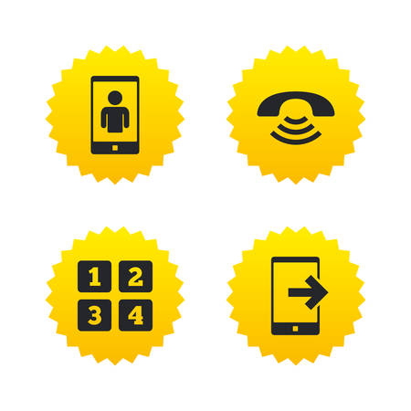 Phone icons. Smartphone video call sign. Call center support symbol. Cellphone keyboard symbol. Yellow stars labels with flat icons. Vector