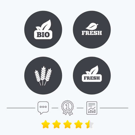 free vote: Natural fresh Bio food icons. Gluten free agricultural sign symbol. Chat, award medal and report linear icons. Star vote ranking. Vector