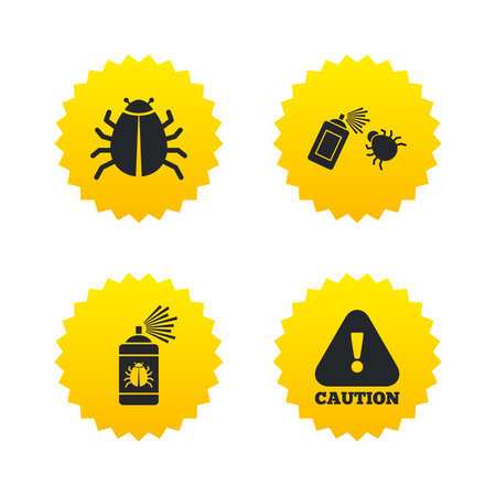 yellow attention: Bug disinfection icons. Caution attention symbol. Insect fumigation spray sign. Yellow stars labels with flat icons. Vector
