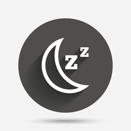 standby: Sleep sign icon. Moon with zzz button. Standby. Circle flat button with shadow. Vector