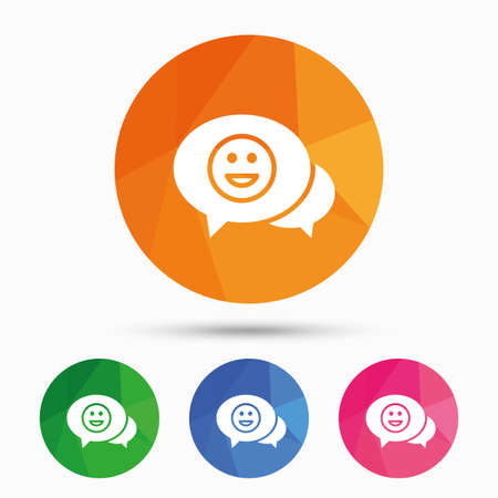 triangular eyes: Chat Smile icon. Happy face chat symbol. Triangular low poly button with flat icon. Vector Illustration