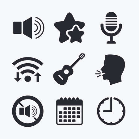 Musical elements icons. Microphone and Sound speaker symbols. No Sound and acoustic guitar signs. Wifi internet, favorite stars, calendar and clock. Talking head. Vector Illustration