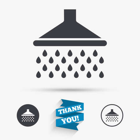 douche: Shower sign icon. Douche with water drops symbol. Flat icons. Buttons with icons. Thank you ribbon. Vector Illustration