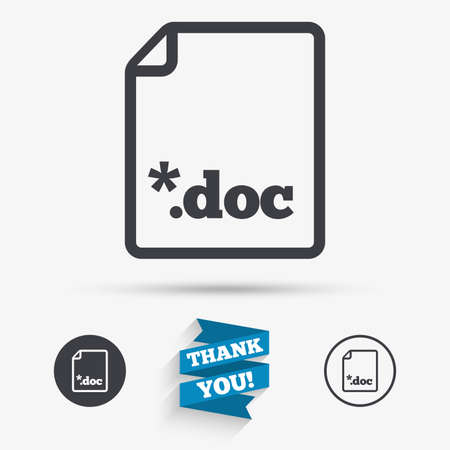 doc: File document icon. Download doc button. Doc file extension symbol. Flat icons. Buttons with icons. Thank you ribbon. Vector