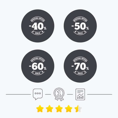 40 50: Sale discount icons. Special offer stamp price signs. 40, 50, 60 and 70 percent off reduction symbols. Chat, award medal and report linear icons. Star vote ranking. Vector