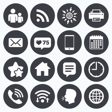head phone: Calendar, wifi and clock symbols. Like counter, stars symbols. Contact, mail icons. Communication signs. E-mail, chat message and phone call symbols. Talking head, go to web symbols. Vector