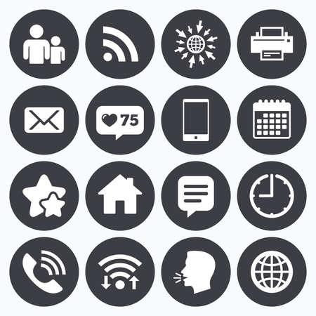 Kalender, wifi en klok symbolen. Net als teller, sterren symbolen. Contact, mail iconen. Communicatie tekens. E-mail, chat en bericht telefoontje symbolen. Pratend hoofd, ga dan naar web symbolen. Vector