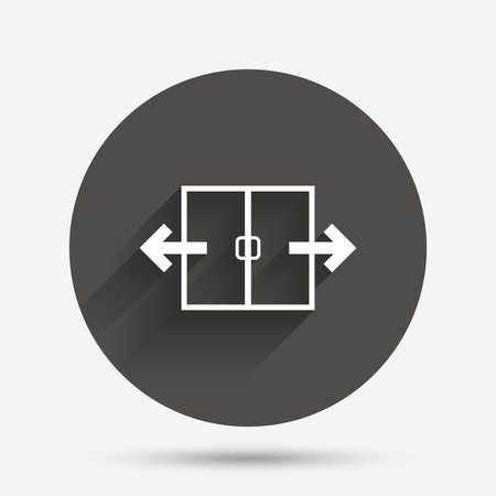 automatic: Automatic door sign icon. Auto open symbol. Circle flat button with shadow. Vector