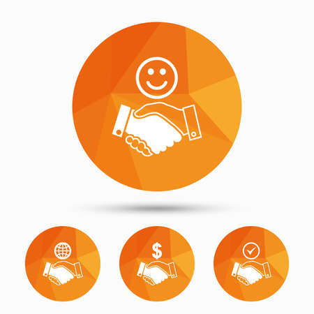 amicable: Handshake icons. World, Smile happy face and house building symbol. Dollar cash money. Amicable agreement. Triangular low poly buttons with shadow. Vector