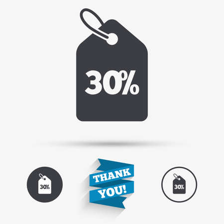 you are special: 30% sale price tag sign icon. Discount symbol. Special offer label. Flat icons. Buttons with icons. Thank you ribbon. Vector