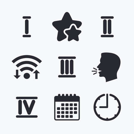 ancient roman: Roman numeral icons. 1, 2, 3 and 4 digit characters. Ancient Rome numeric system. Wifi internet, favorite stars, calendar and clock. Talking head. Vector
