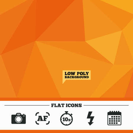 autofocus: Triangular low poly orange background. Photo camera icon. Flash light and autofocus AF symbols. Stopwatch timer 10 seconds sign. Calendar flat icon. Vector Illustration