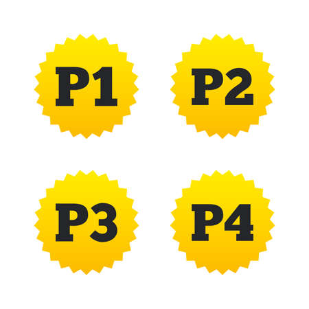 second floor: Car parking icons. First, second, third and four floor signs. P1, P2, P3 and P4 symbols. Yellow stars labels with flat icons. Vector Illustration