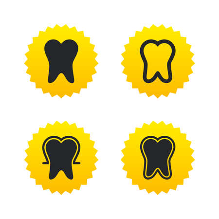 enamel: Tooth enamel protection icons. Dental care signs. Healthy teeth symbols. Yellow stars labels with flat icons. Vector