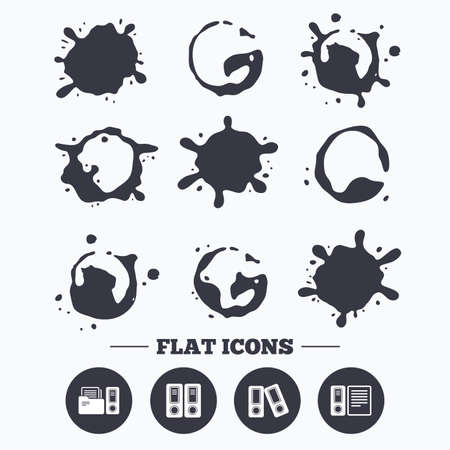 smudges: Paint, coffee or milk splash blots. Accounting icons. Document storage in folders sign symbols. Smudges splashes drops. Vector Illustration