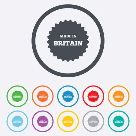 britain: Made in Britain icon. Export production symbol. Product created in UK sign. Round circle buttons with frame. Vector Illustration