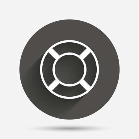 salvation: Lifebuoy sign icon. Life salvation symbol. Circle flat button with shadow. Vector Illustration
