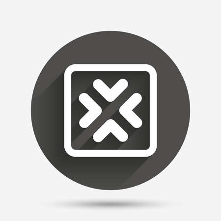 Enlarge or resize icon. Full Screen extend symbol. Circle flat button with shadow. Vector Illustration