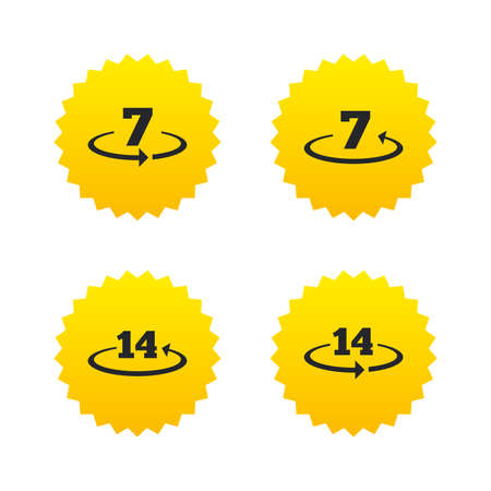 days: Return of goods within 7 or 14 days icons. Warranty 2 weeks exchange symbols. Yellow stars labels with flat icons. Vector