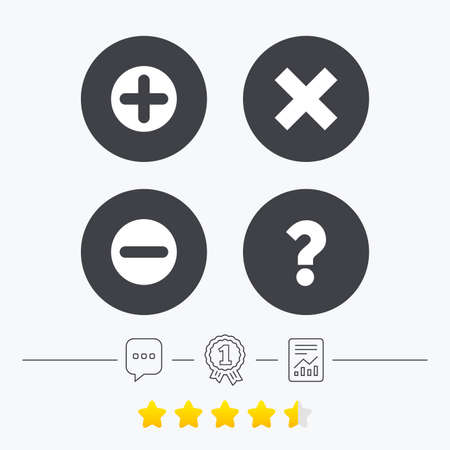 enlarge: Plus and minus icons. Delete and question FAQ mark signs. Enlarge zoom symbol. Chat, award medal and report linear icons. Star vote ranking. Vector Illustration