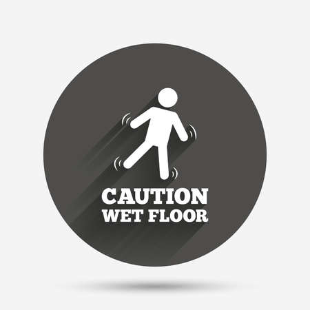 wet floor sign: Caution wet floor sign icon. Human falling symbol. Circle flat button with shadow. Vector