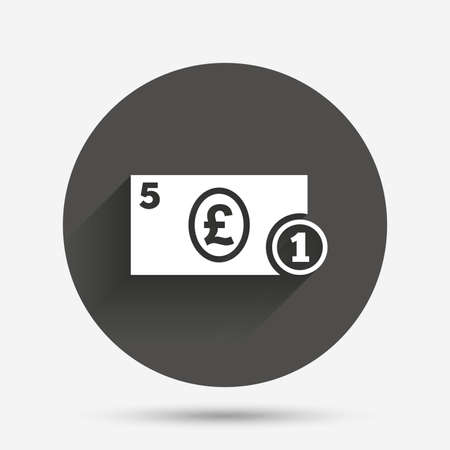 pound coin: Cash sign icon. Pound Money symbol. GBP Coin and paper money. Circle flat button with shadow. Vector