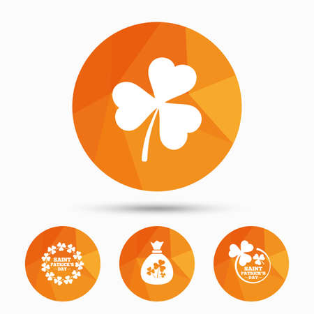 clover buttons: Saint Patrick day icons. Money bag with clover sign. Wreath of trefoil shamrock clovers. Symbol of good luck. Triangular low poly buttons with shadow. Vector Illustration