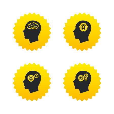 Head with brain icon. Male human think symbols. Cogwheel gears signs. Yellow stars labels with flat icons. Vector Illustration
