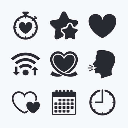 palpitation: Heart ribbon icon. Timer stopwatch symbol. Love and Heartbeat palpitation signs. Wifi internet, favorite stars, calendar and clock. Talking head. Vector Illustration