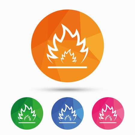 fire escape: Fire flame sign icon. Heat symbol. Stop fire. Escape from fire. Triangular low poly button with flat icon. Vector