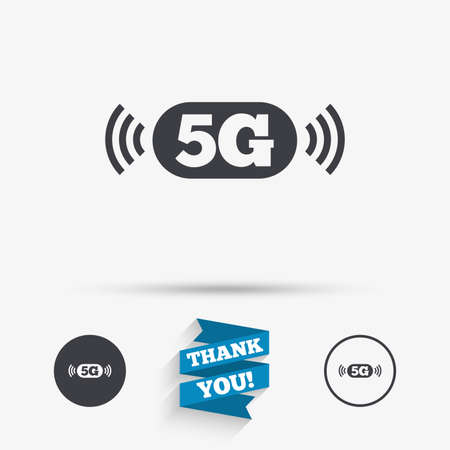 telecommunications technology: 5G sign icon. Mobile telecommunications technology symbol. Flat icons. Buttons with icons. Thank you ribbon. Vector