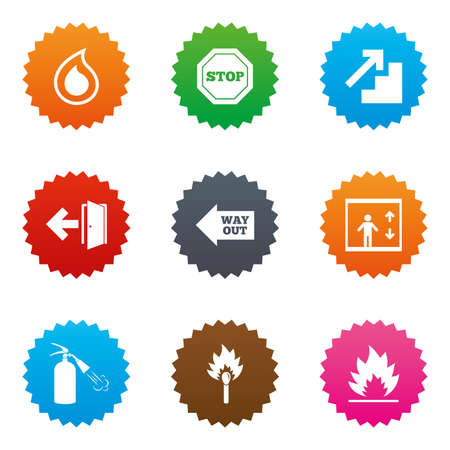 emergency exit label: Fire safety, emergency icons. Fire extinguisher, exit and stop signs. Elevator, water drop and match symbols. Stars label button with flat icons. Vector Illustration