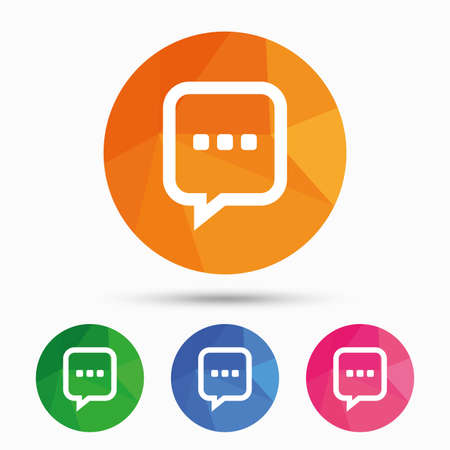 three dots: Chat sign icon. Speech bubble with three dots symbol. Communication chat bubble. Triangular low poly button with flat icon. Vector Illustration