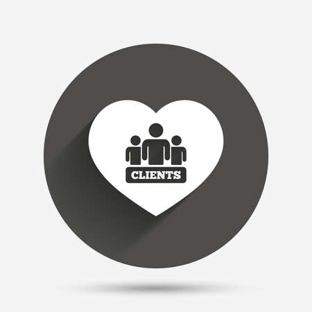 shadow people: Love Clients sign icon. Group of people symbol. Circle flat button with shadow. Vector