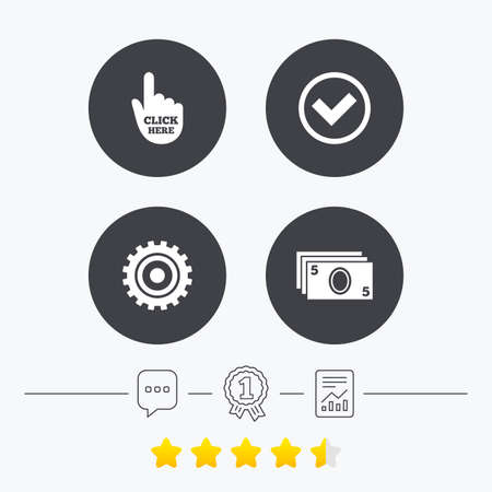 withdrawal: ATM cash machine withdrawal icons. Click here, check PIN number, processing and cash withdrawal symbols. Chat, award medal and report linear icons. Star vote ranking. Vector