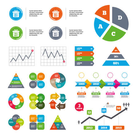 50 to 60: Data pie chart and graphs. Sale gift box tag icons. Discount special offer symbols. 50%, 60%, 70% and 80% percent off signs. Presentations diagrams. Vector