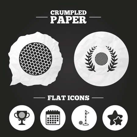crumpled paper ball: Crumpled paper speech bubble. Golf ball icons. Laurel wreath winner award cup sign. Luxury sport symbol. Paper button. Vector