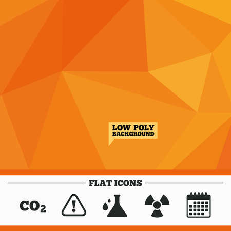 danger carbon dioxide  co2  labels: Triangular low poly orange background. Attention and radiation icons. Chemistry flask sign. CO2 carbon dioxide symbol. Calendar flat icon. Vector Illustration