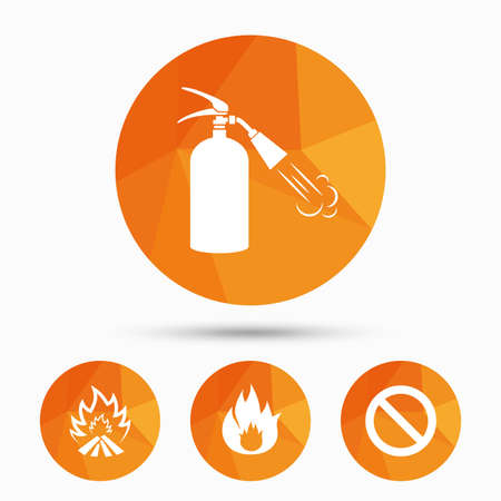 extinguishing: Fire flame icons. Fire extinguisher sign. Prohibition stop symbol. Triangular low poly buttons with shadow. Vector Illustration