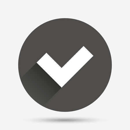 yes button: Check sign icon. Yes button. Circle flat button with shadow. Vector
