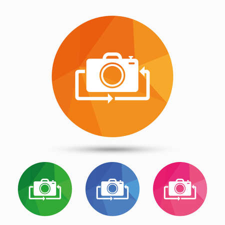 button front: Front photo camera sign icon. Digital photo camera symbol. Change front to back. Triangular low poly button with flat icon. Vector