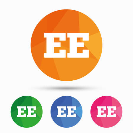 ee: Estonian language sign icon. EE translation symbol. Triangular low poly button with flat icon. Vector