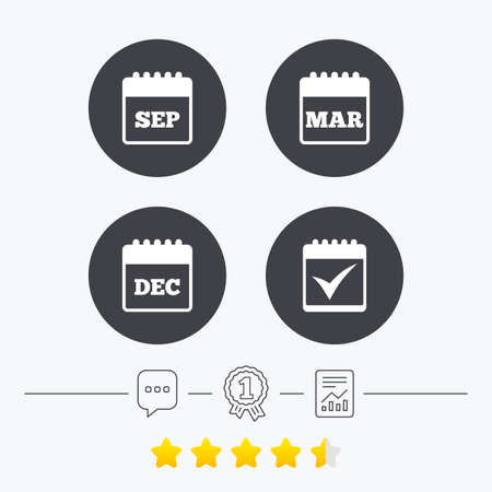 sep: Calendar icons. September, March and December month symbols. Check or Tick sign. Date or event reminder. Chat, award medal and report linear icons. Star vote ranking. Vector Illustration