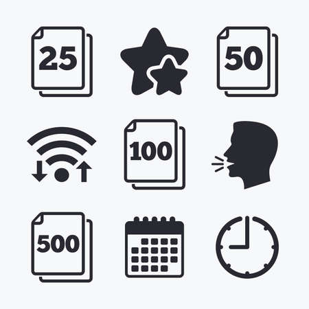units: In pack sheets icons. Quantity per package symbols. 25, 50, 100 and 500 paper units in the pack signs. Wifi internet, favorite stars, calendar and clock. Talking head. Vector